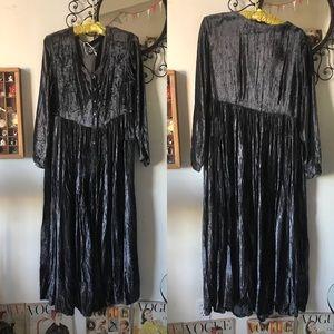 Beaded velvet grey maxi dress rich tone & fabric